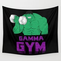 gym Wall Tapestries featuring gamma gym by Louis Roskosch