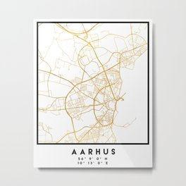 AARHUS DENMARK CITY STREET MAP ART Metal Print