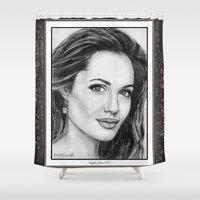 angelina jolie Shower Curtains featuring Angelina Jolie in 2005 by JMcCombie