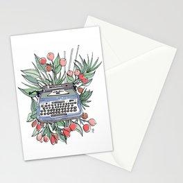 Vintage typewriter. Blue Stationery Cards