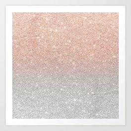 Modern trendy rose gold glitter ombre silver glitter Art Print