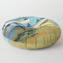 The Blue Boats Floor Pillow
