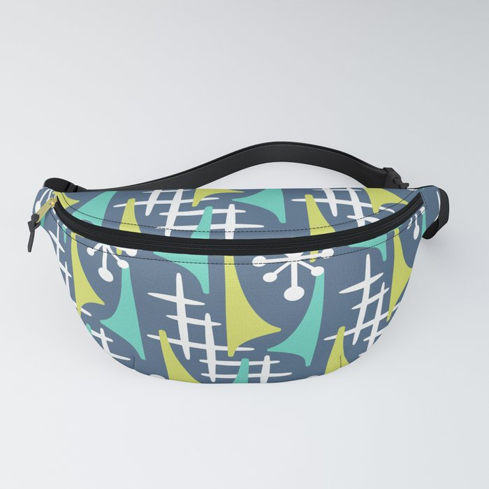 Mid Century Modern Atomic Wing Composition 55 Blue Turquoise and Chartreuse Fanny Pack