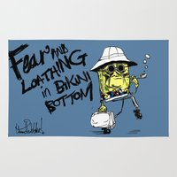 fear and loathing Area & Throw Rugs featuring Fear and Loathing in Bikini Bottom by thunderbloke!