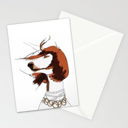 Messy Hair Don't Care Dog Stationery Cards