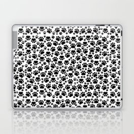 Dog Paws, Traces, Paw-prints - White Black Laptop & iPad Skin
