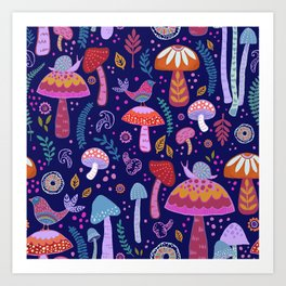 Magical Mushrooms on navy Art Print