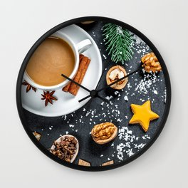 Photo New year little stars cocoa Star anise Illic Wall Clock
