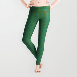 Doors & corners op art pattern in olive green and aqua blue Leggings