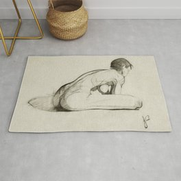 Female Nude Figure Charcoal Drawing Leaning Over Thinking Black and Beige Rug