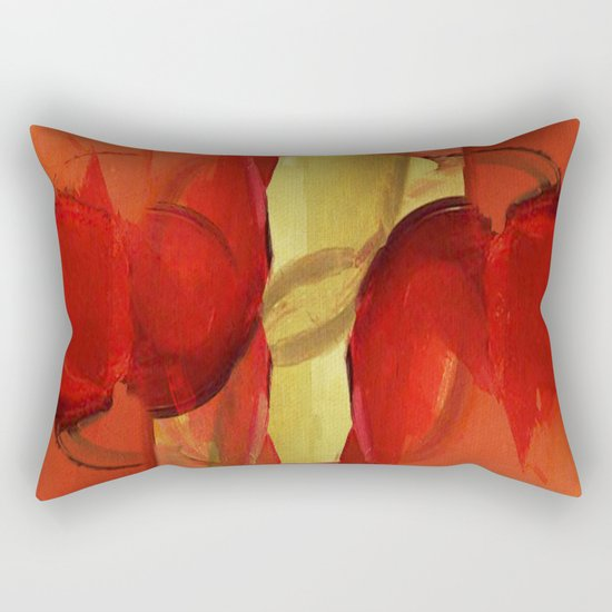 Two Red Horses Rectangular Pillow