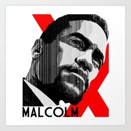 Malcolm X Retro Graphic Art Print