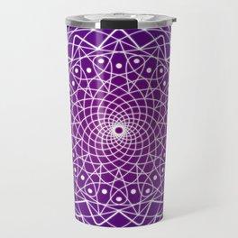 Purple and White Spiral Mandala Travel Mug