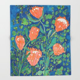 Coral Proteas on Blue Pattern Painting Throw Blanket