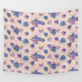 Hydrangeas on Blush with white French script and birds Wall Tapestry
