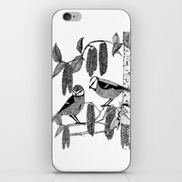 tits iPhone & iPod Skins featuring Blue Tits and Catkins by LindaWinegum