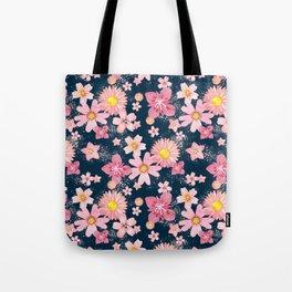 Floral Wind Navy Tote Bag