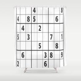 Sudoku Series: Hard Level - Mono Shower Curtain