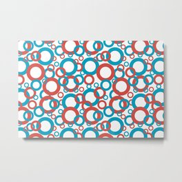 AI Aqua 098-59-30 Coloro 2021 Color Of the Year and Red Oxy Fire 015-50-36 Funky Geometric Rings Metal Print