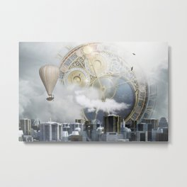 Steampunk city Metal Print