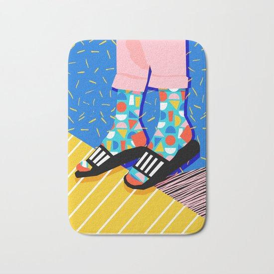 Demo - memphis retro 80s throwback hightop socks styles bright happy art slides Bath Mat