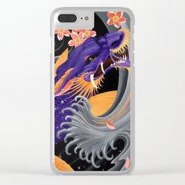 Purple Dragonkoi with Sakura Clear iPhone Case