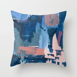 Rhythm of Rain: a modern abstract piece by Alyssa Hamilton Art in blues and pinks Throw Pillow