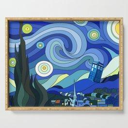 Tardis Art Starry Night Serving Tray