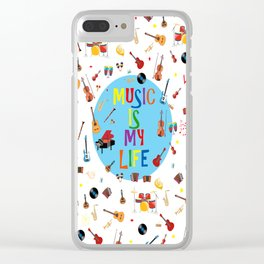 Music is my life (White) Clear iPhone Case