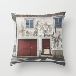 Street photography / old building with red doors and blue windows / Madeira wanderlust fine art print Throw Pillow