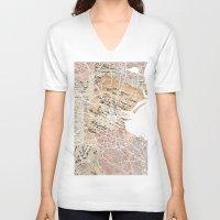 dublin V-neck T-shirts featuring Dublin map by Mapsland