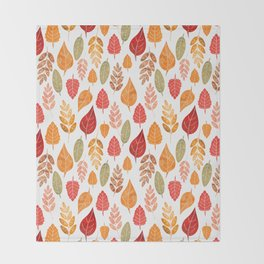 Painted Autumn Leaves Pattern Throw Blanket
