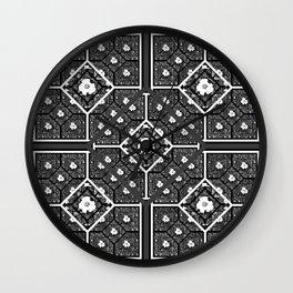 Cherokee Rose Pattern 1 black gray white Wall Clock