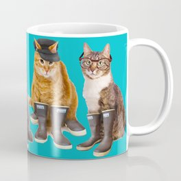 Tough Cats on Aqua Coffee Mug