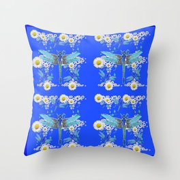 BLUE DRAGONFLIES REPEATING  DAISY FLOWERS  ART Throw Pillow