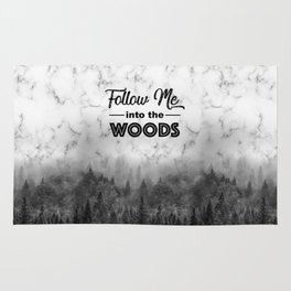 Follow me into the woods marble typograhy Rug