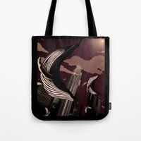 carnage Tote Bags featuring Whale Carnage by Earnestly Elsewhere