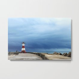 Lighthouse in the Storm Metal Print