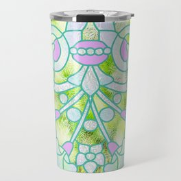 Art Nouveau Lime Green and Pink Batik Design Travel Mug