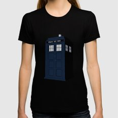 Dr Who - The Doctor's Tardis - Police Phone Box Black LARGE Womens Fitted Tee