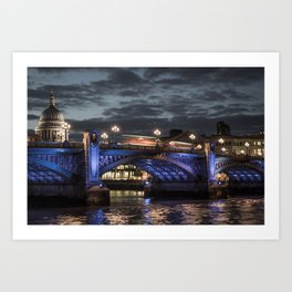 St Paul's Cathedral & Southwark Bridge At Night Art Print