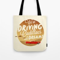 lorde Tote Bags featuring We're Driving Cadillacs In Our Dreams - Lorde: Royals  by Four & Thirty