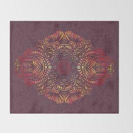 Orange Zentangle Throw Blanket