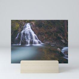 Waterfall forest lake stones Spain Castille and Leon Segovia Mini Art Print