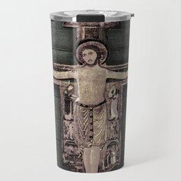 Medieval Style Jesus Christ on Cross Sculpture Artwork Travel Mug