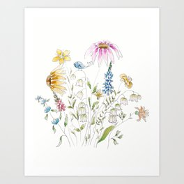 wild flowers and blue bird _ink and watercolor 1 Art Print
