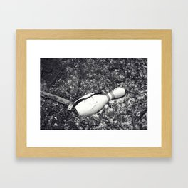Bowling Pin Black and White  Framed Art Print