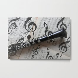 clef music notes white black clarinet Metal Print
