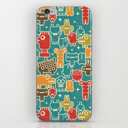 Robots on blue. iPhone Skin