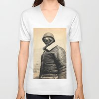 general V-neck T-shirts featuring General Sloth by Bakus
